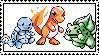 Squirtle Charmander Bulbasaur stamp by pikachuafwc