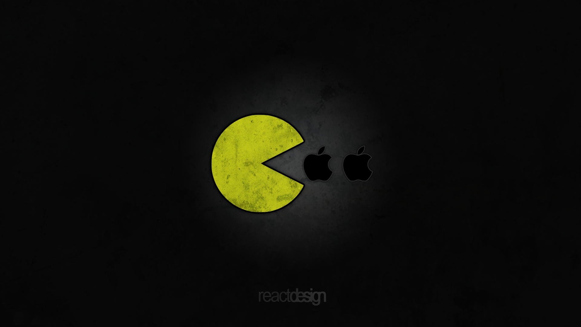 pac-man likes apple: 1920x1080reactdesign on deviantart