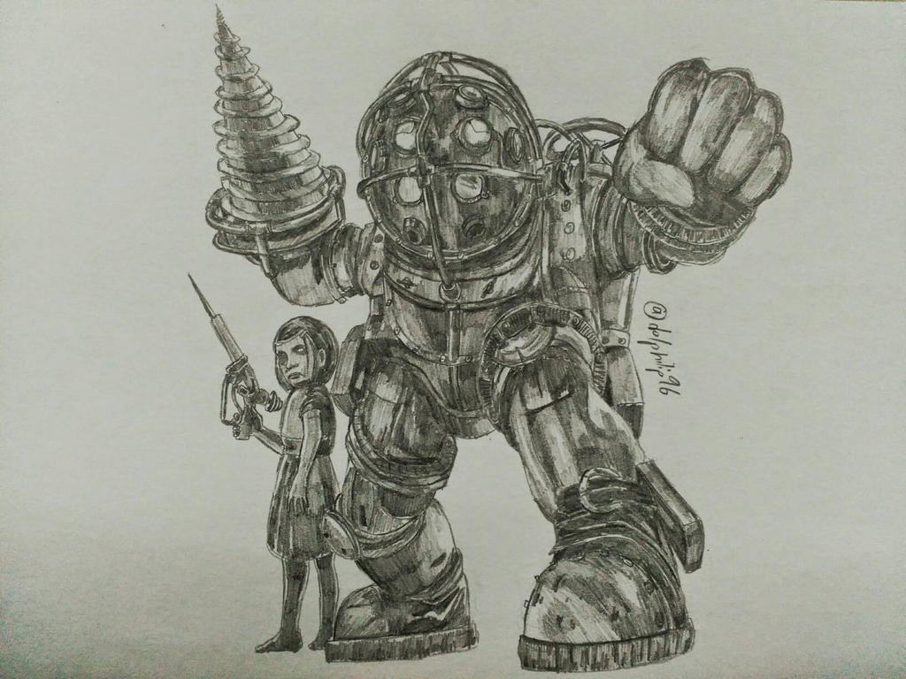 Big Daddy And Little Sister From Bioshock By Sketchydolphin96 On