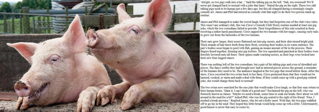 Circe's Comedy Club (Pig TF Caption) by Monkey-Scientist