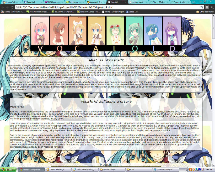HTML Project - VOCALOID by Katara-WaterTribe-14 on DeviantArt