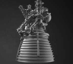 J-2 Rocket Engine(VrayRT testdrive) by LandeTLS