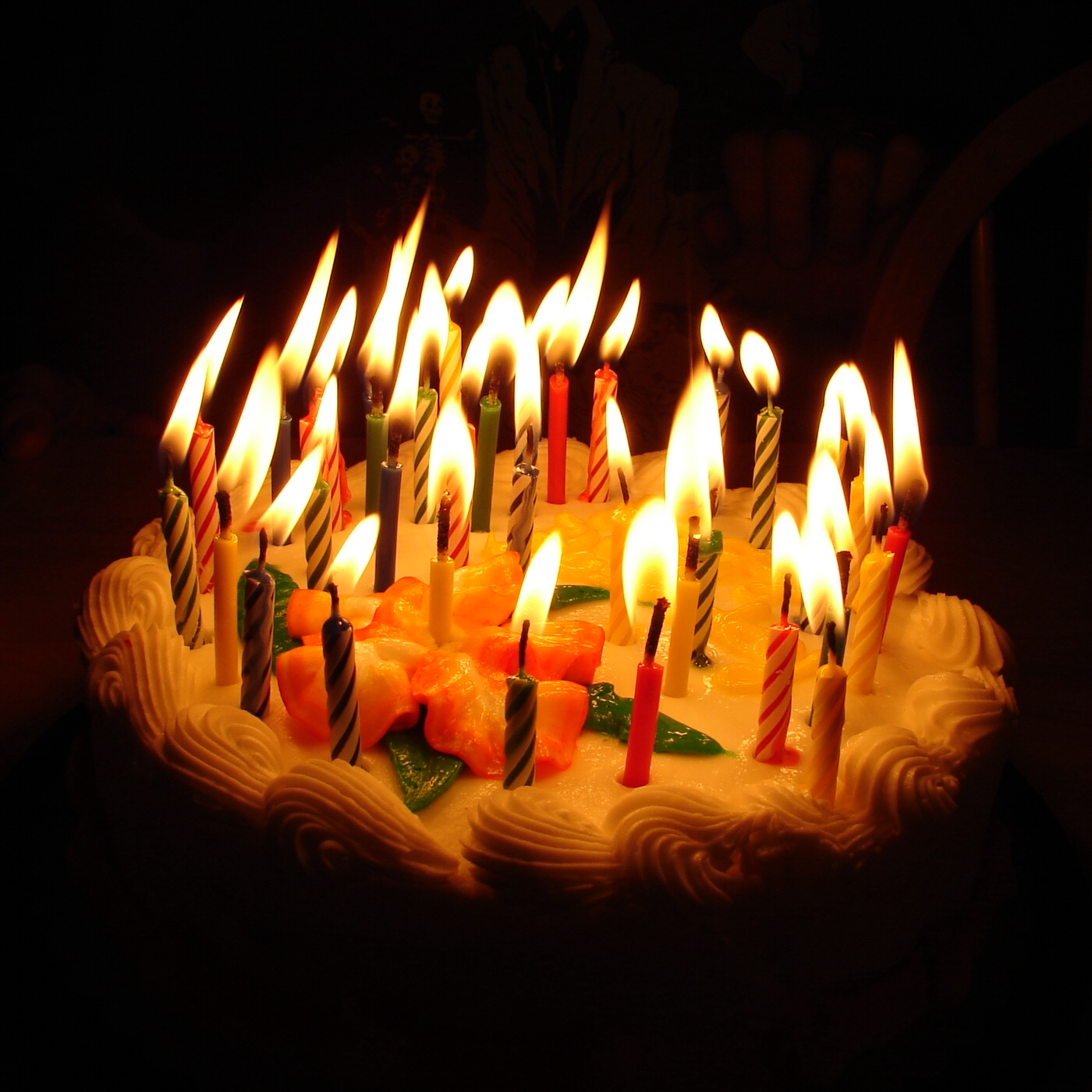 Birthday Cake with Lit Candles