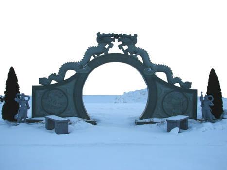 Oriental Stone Dragon Gate by FantasyStock
