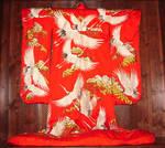 Red Kimono with White Cranes