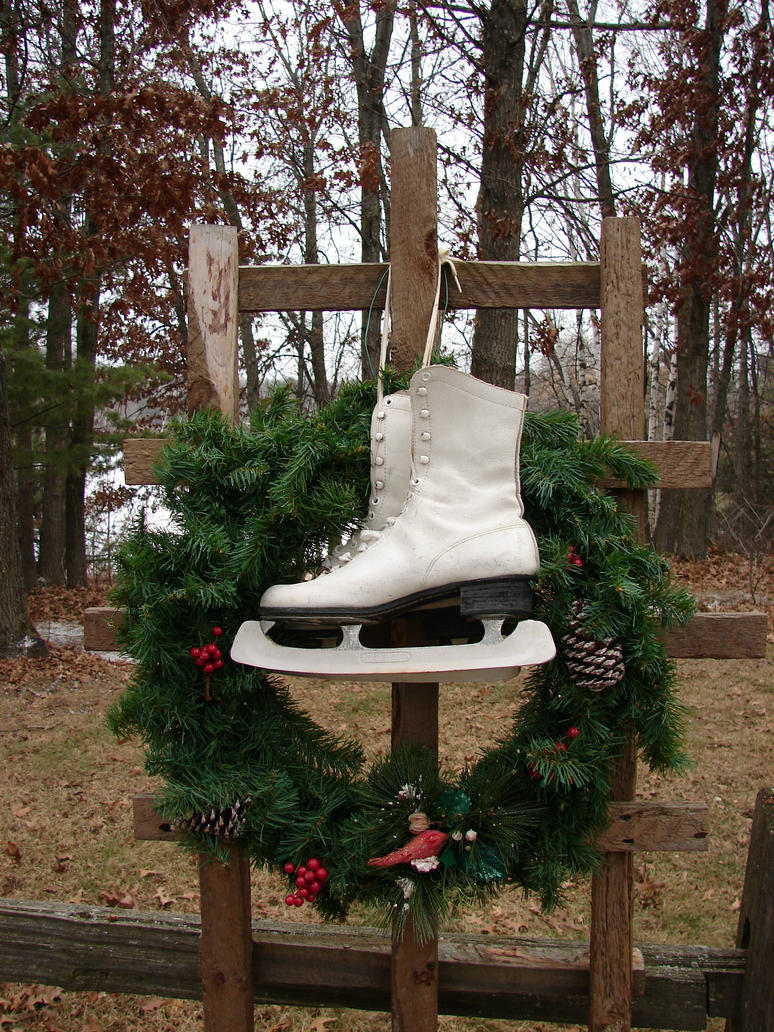Ice Skates Christmas Wreath by FantasyStock
