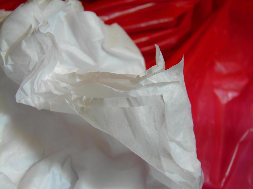 White Tissue Paper Red Plastic