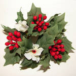 Silk Floral Holly Decoration