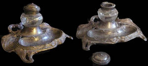 Silver-Glass Baroque Inkwell