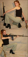 Danielle 2 Firearm Kinfe Poses