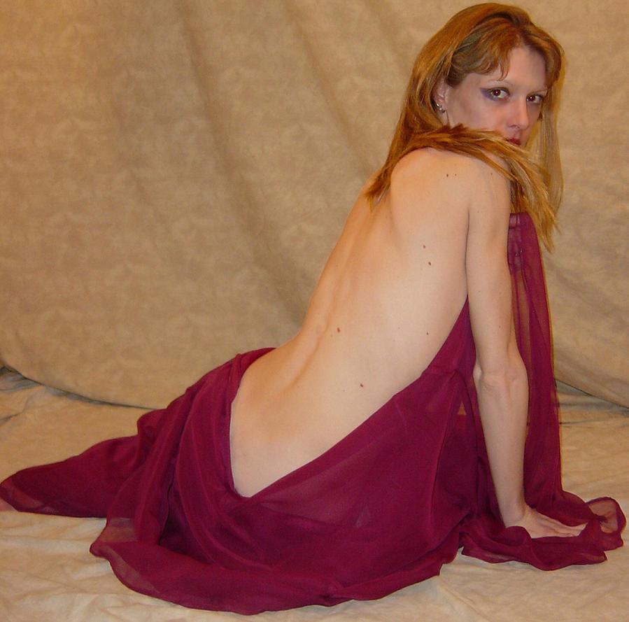 Danielle Burgundy Drape Pose 7 by FantasyStock