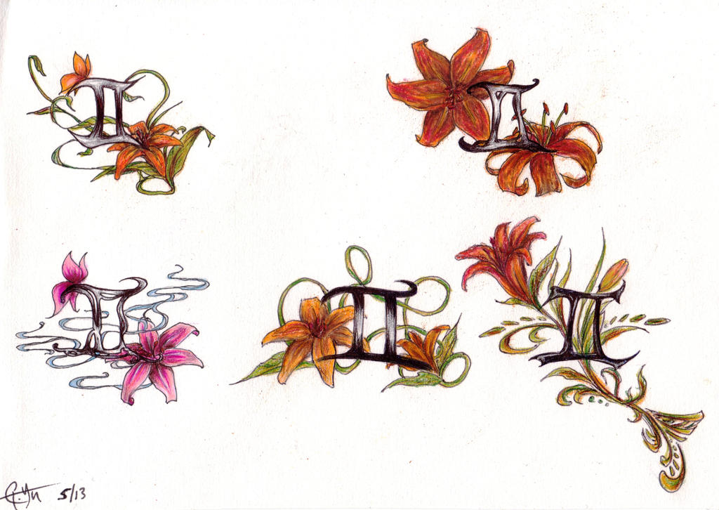 Gemini And Tiger Lily Tattoo Designs By Theforgottenking