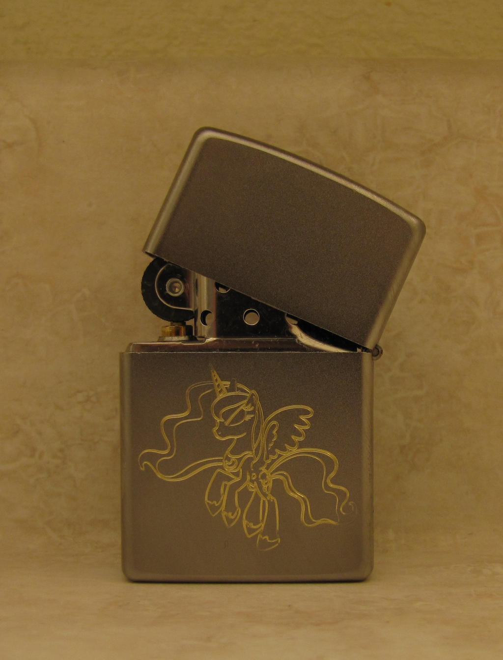 Luna on a zippo lighter by tiwake