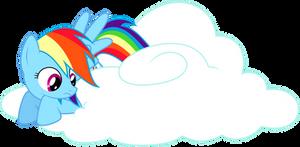 Rainbow Dash sitting on a cloud