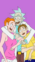 Summer, Rick, and Morty.