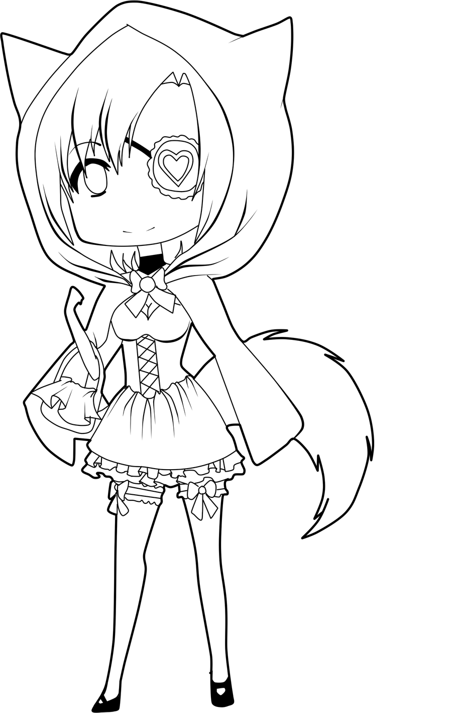 Red riding hood lineart by mi chisama on deviantart for Red riding hood coloring pages