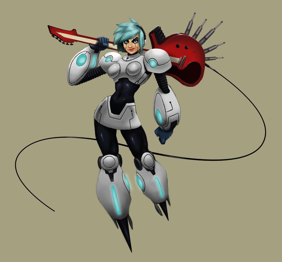 Rocker Robot Girl by KendallHaleArt
