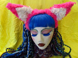 pink and white foxxy ears by LDOriginals