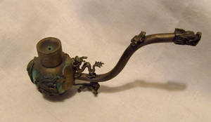 vintage asian jade and bronze tobacco pipe by LDOriginals