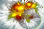 Fractal image in delicate and strong colors