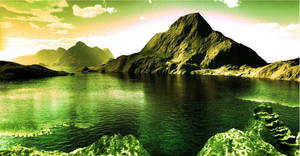 Mountainous and water in scenic landscape