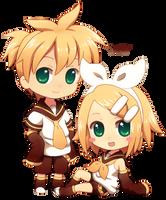 Chibi Len and Rin by DAV-19