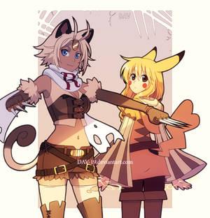 Meowth and Pikachu