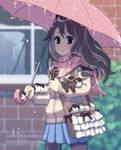 Sparrows under the umbrella