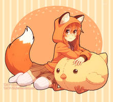 Fox and chick