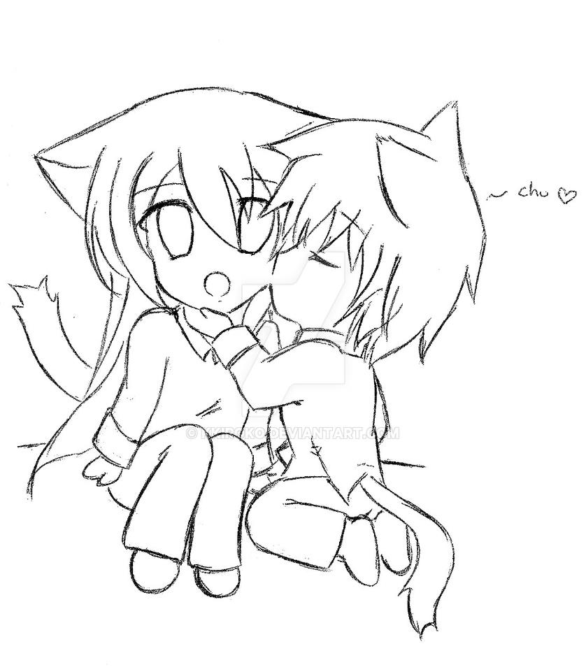 Easy Chibi Couple Coloring Pages