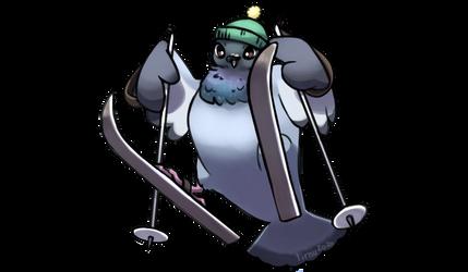 Pigeon on skis