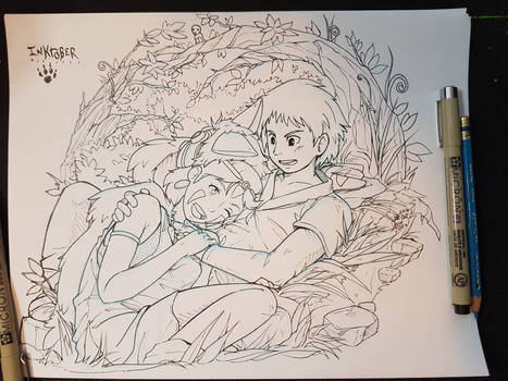 Inktober 2016 Princess Mononoke