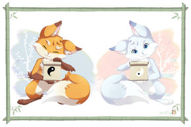 Akiro and Fuyu the foxes by TetsukiArt