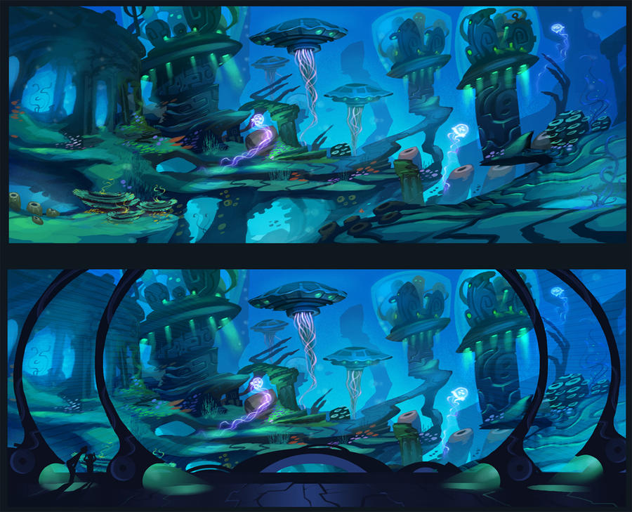 how to draw underwater backgrounds