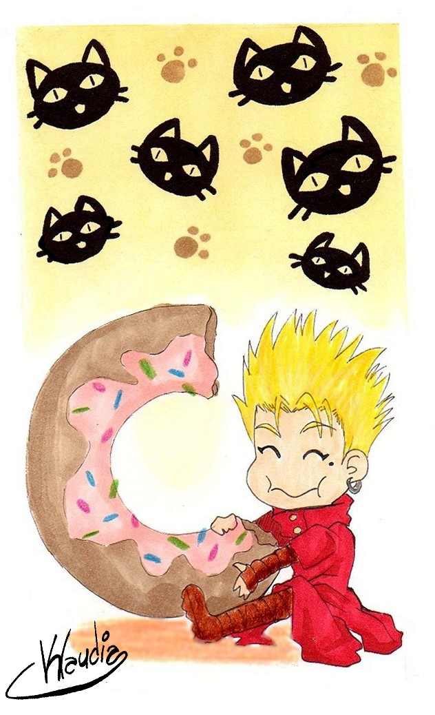 Vash The Stampede And The Donut Chibi By Klaudia Ayame On Deviantart