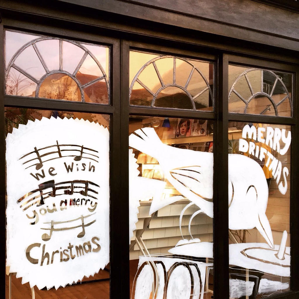 Robin Stylus Drift Records Window Painting   by leeoconnor