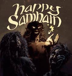Happy Samhain from Aillen, Fionn and Sabh
