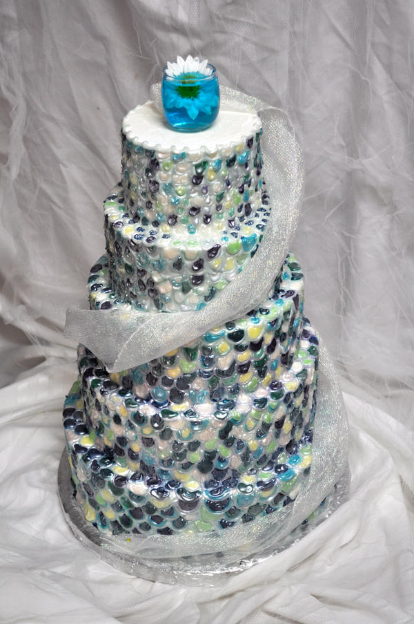 Fish Scales Wedding Cake by forgetmmenot