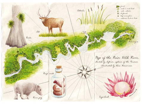 Map of the Rain Wild River: colour
