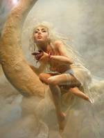 Moon Fairy baby dragon by cdlitestudio