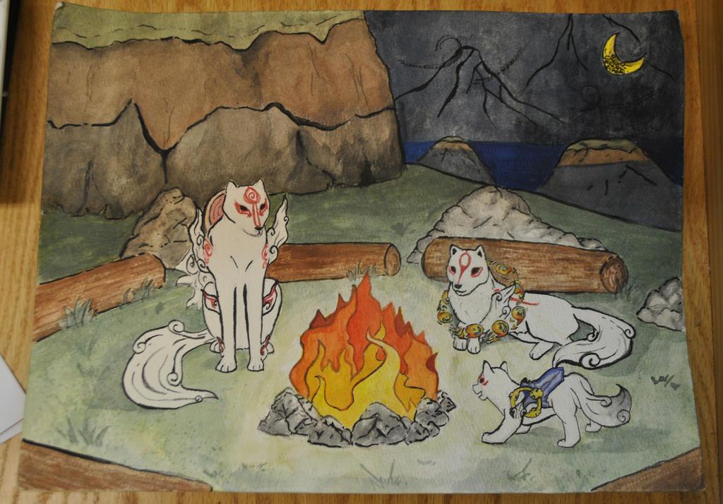 Okami Campfire by Mystikk