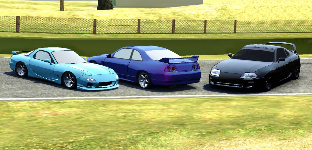 Mazda rx7 nissan skyline gtr r33 and toyota supra by inamson1