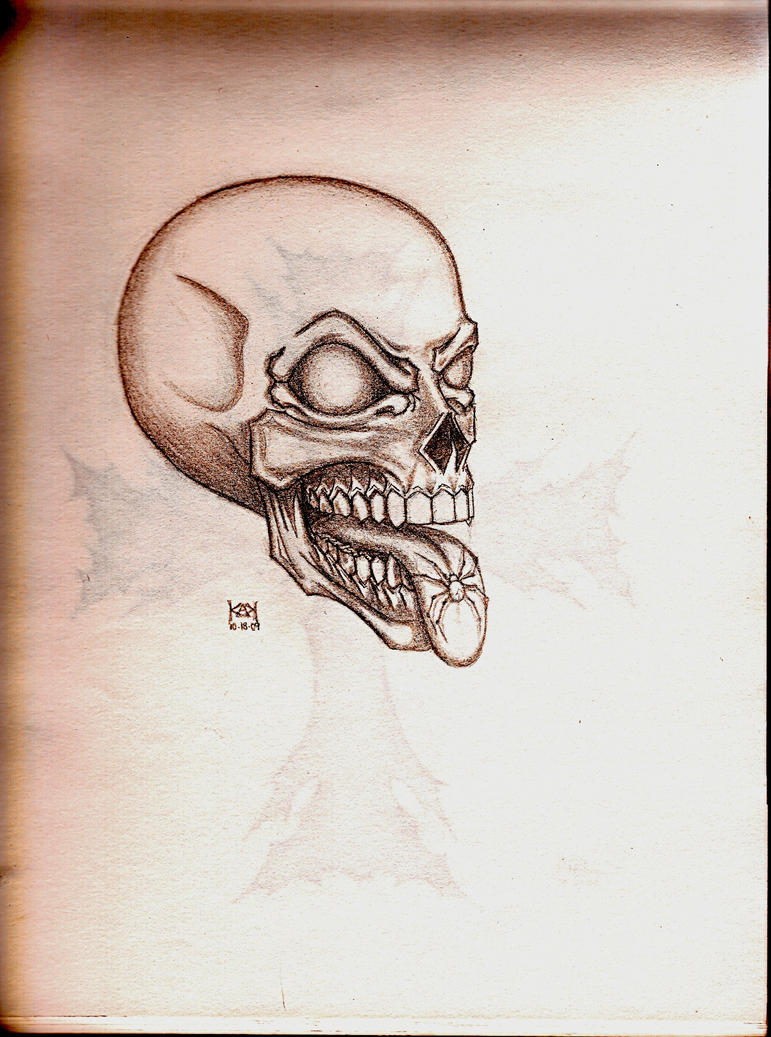 Skull with spider tattoo by aodarkness on deviantart for Tattoo shop etiquette