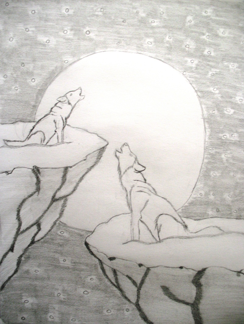 Simple howling wolf sketch - photo#2