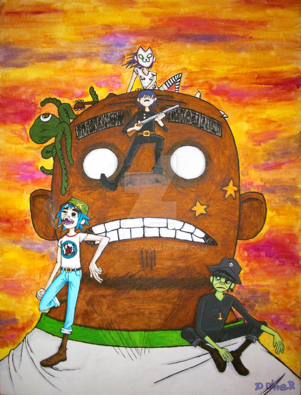 Gorillaz - hewll sketch [colored] by 2D-Dipper