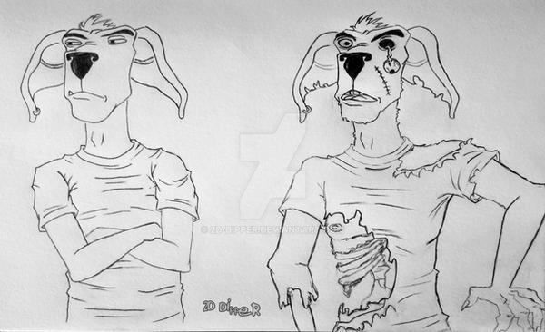 Two Versions of Booga [Sketch] by 2D-Dipper