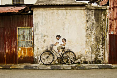 Art Wall Kid Cycling by Poweryong