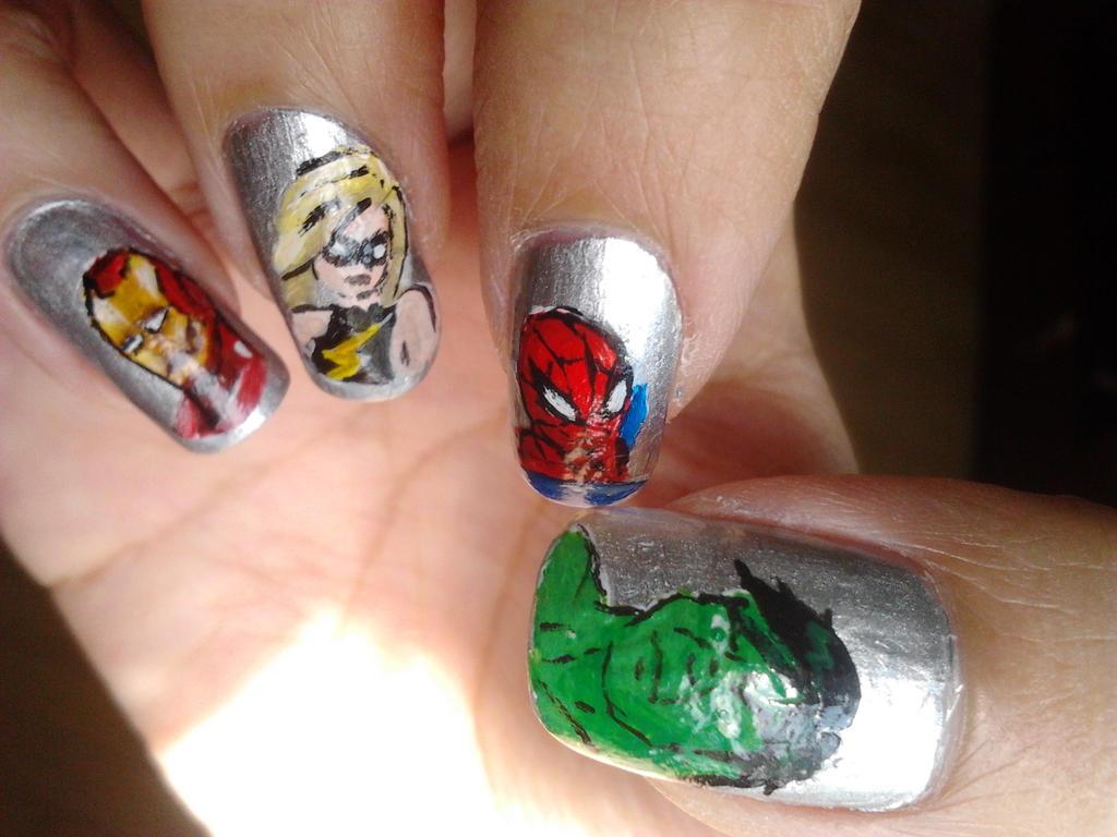 Marvel Nail art by BbyCashfLow on DeviantArt