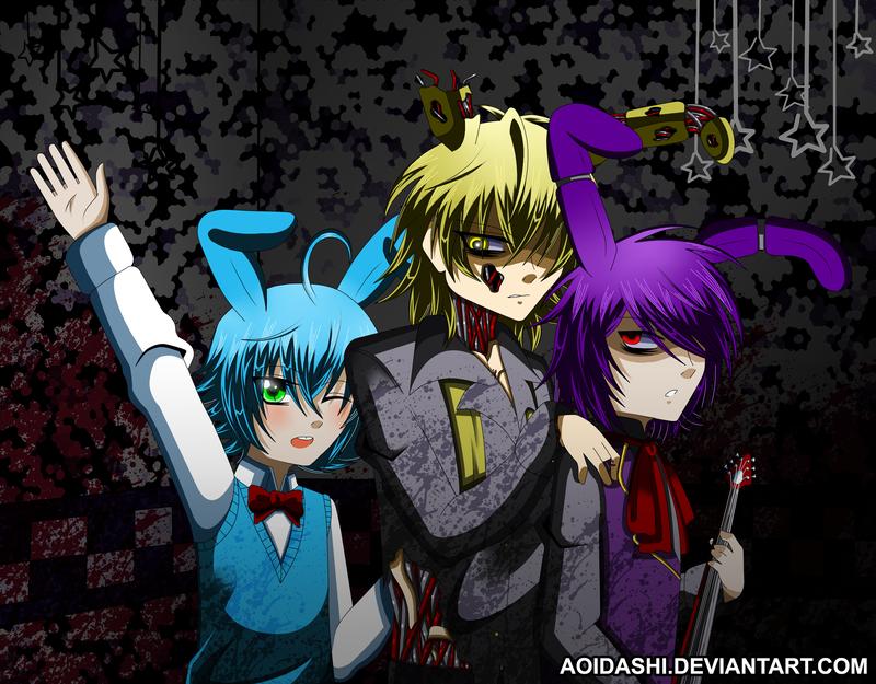 We are three animatronic rabbits by Aoidashi