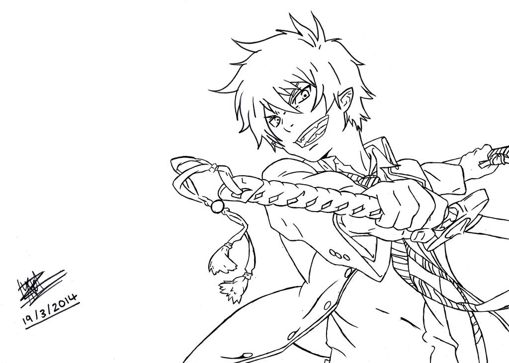 blue exorcist rin okumura by darksuperninja on deviantart Vampire Knight Coloring Pages Black Butler Coloring Pages